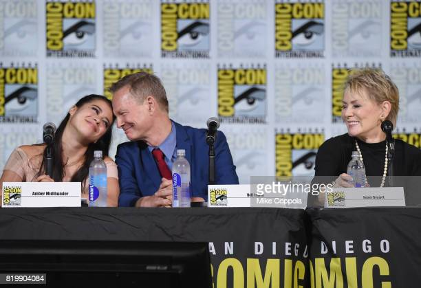 Actors Amber Midthunder Bill Irwin and Jean Smart onstage at the 'Legion' screening and QA during ComicCon International 2017 at San Diego Convention...