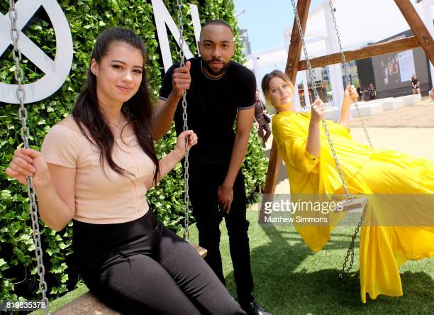 Actors Amber Midthunder Jeremie Harris and Rachel Keller attend FX Networks' FXHibition during 2017 San Diego Comic Con at Hilton Bayfront on July 21...