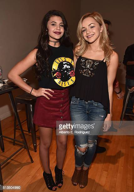 Actors Amber Montana and Oana Gregory attend the premiere party of Disney XD's 'Lab Rats Elite Force' on March 2 2016 in Los Angeles California