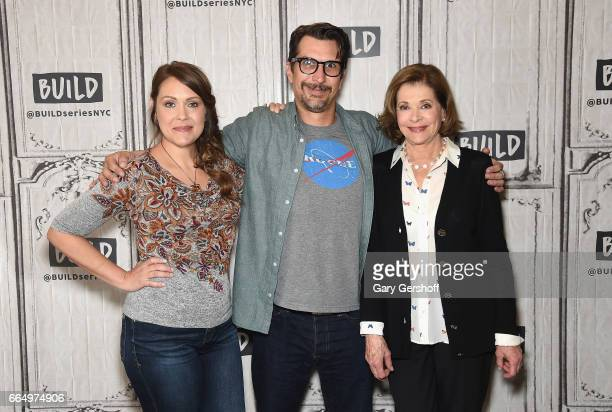 Actors Amber Nash Lucky Yates and Jessica Walter attend the Build Series to discuss the animated series 'Archer' at Build Studio on April 5 2017 in...