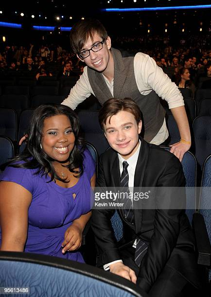 Actors Amber Riley Kevin McHale and Chris Colfer during the People's Choice Awards 2010 held at Nokia Theatre LA Live on January 6 2010 in Los...