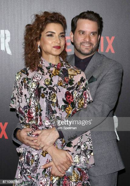 Actors Amber Rose Revah and Michael Nathanson attend the 'Marvel's The Punisher' New York premiere at AMC Loews 34th Street 14 theater on November 6...