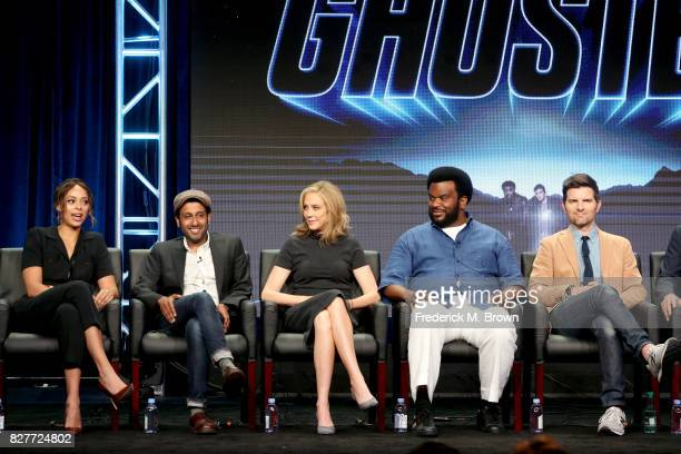 Actors Amber Stevens West Adeel Akhtar and Ally Walker and Executive producers/actors Craig Robinson and Adam Scott of 'Ghosted' speak onstage during...