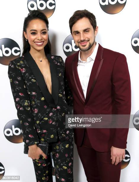 Actors Amber Stevens West and Andrew J West attend Disney ABC Television Group's TCA Winter Press Tour 2018 at The Langham Huntington Pasadena on...