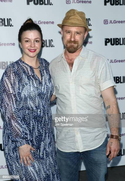 Actors Amber Tamblyn and Ben Foster attend the Julius Caesar opening night at Delacorte Theater on June 12 2017 in New York City