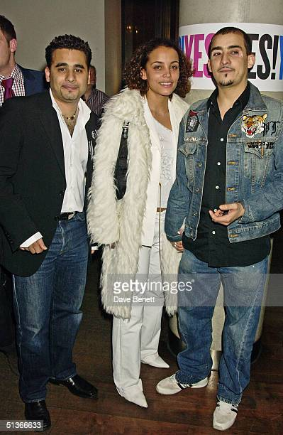 Actors Ameet Chana and Nabil Elouahabi with guest at the 'When Harry Met Sally' first night party held at the Trafalgar Hilton bar on 22nd February...