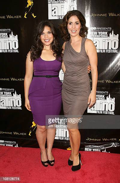 Actors America Ferrera and Ana Ortiz attend the 2010 NYILFF Premiere of The Dry Land at the School of Visual Arts Theater on July 27 2010 in New York...