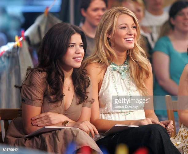 Actors America Ferrera and Blake Lively visit ABC's Good Morning America at ABC studios on August 4 2008 in New York City