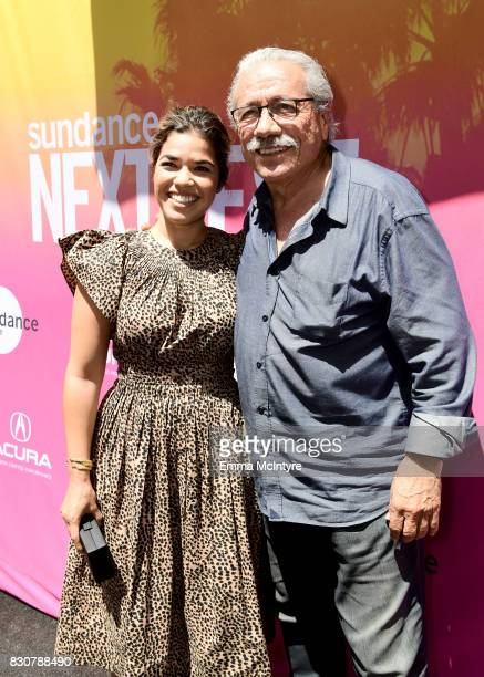 Actors America Ferrera and Edward James Olmos attend 2017 Sundance NEXT FEST at The Theater at The Ace Hotel on August 12 2017 in Los Angeles...