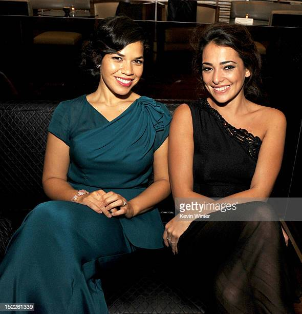 Actors America Ferrera and Natalie Martinez pose at the after party for the premiere of Open Road Films' End of Watch at WP24 on September 17 2012 in...