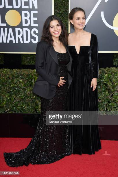 Actors America Ferrera and Natalie Portman attend The 75th Annual Golden Globe Awards at The Beverly Hilton Hotel on January 7 2018 in Beverly Hills...