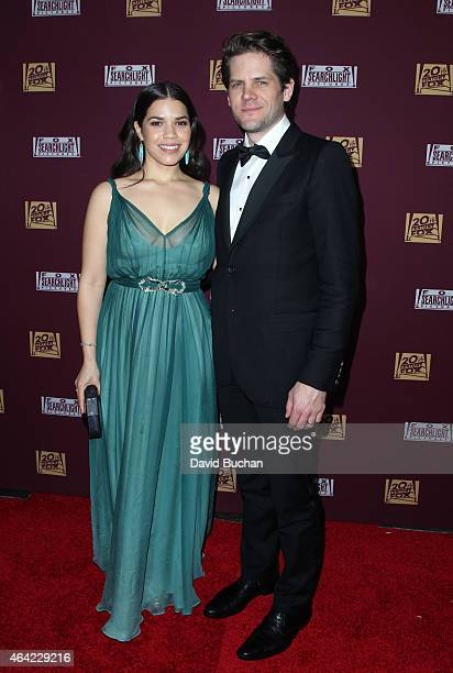 Actors America Ferrera and Ryan Piers Williams attend the 21st Century Fox and Fox Searchlight Oscar Party at BOA Steakhouse on February 22 2015 in...