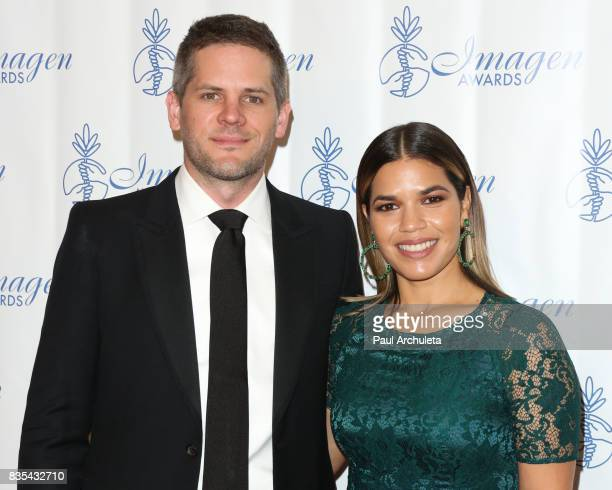 Actors America Ferrera and Ryan Piers Williams attend the 32nd Annual Imagen Awards at the Beverly Wilshire Four Seasons Hotel on August 18 2017 in...