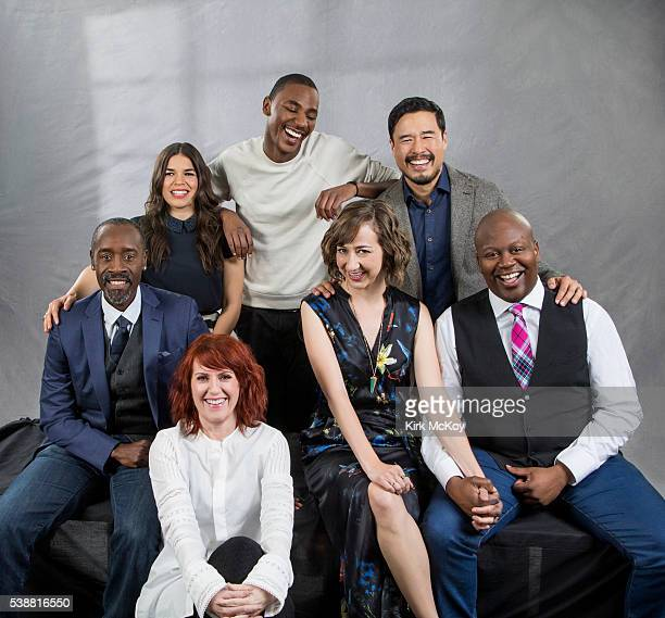 Actors America Ferrera Don Cheadle Megan Mullally Kristen Schaal Randall Park Tituss Burgess and Jerrod Carmichael are photographed for Los Angeles...