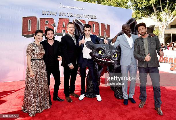 Actors America Ferrera Kit Harington Craig Ferguson Jay Baruchel Djimon Hounsou and Gerard Butler arrive at the premiere of Twentieth Century Fox and...