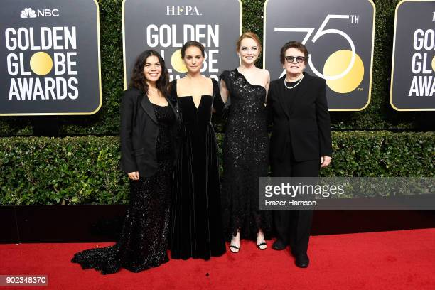 Actors America Ferrera, Natalie Portman and Emma Stone, and former tennis player Billie Jean King attend The 75th Annual Golden Globe Awards at The...