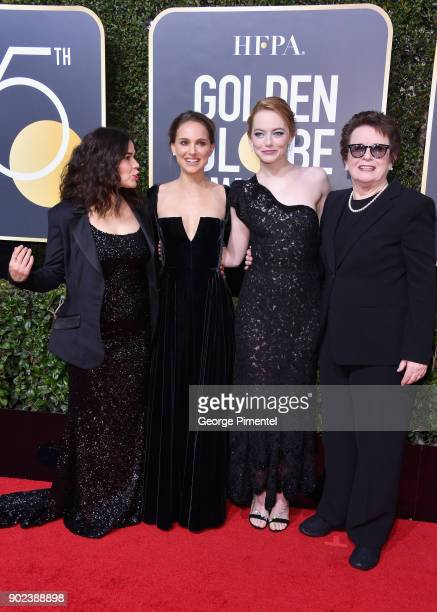 Actors America Ferrera Natalie Portman and Emma Stone and former tennis player Billie Jean King attend The 75th Annual Golden Globe Awards at The...