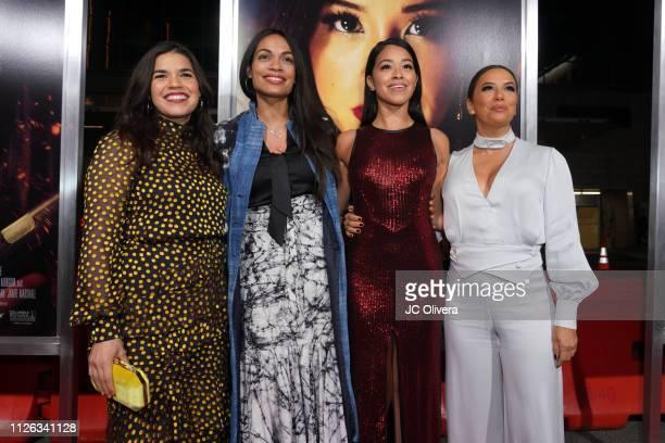 Actors America Ferrera, Rosario Dawson, Gina Rodriguez and Eva Longoria attend the premiere of Columbia Pictures' 'Miss Bala' at Regal LA Live...