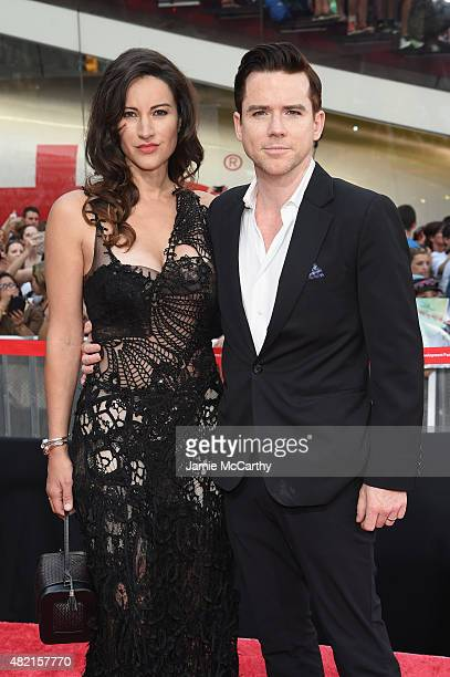 Actors America Olivo and Christian Campbell attend the 'Mission Impossible Rogue Nation' New York premiere at Duffy Square in Times Square on July 27...