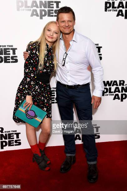 """Actors Amiah Miller and Steve Zahn attend a screening of """"War For The Planet Of The Apes"""" at The Ham Yard Hotel on June 19, 2017 in London, England."""