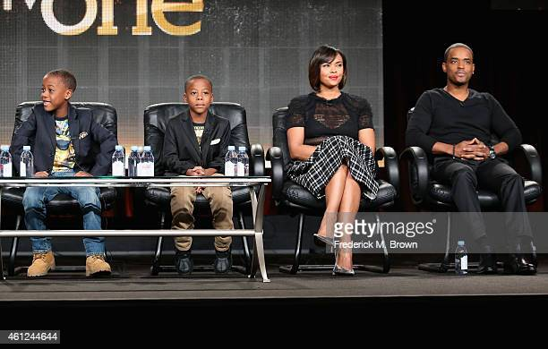 Actors Amir O'Neal Amari O'Neill Sharon Leal and Larenz Tate speak onstage during the 'White Water' panel at the TV One Network portion of the 2015...