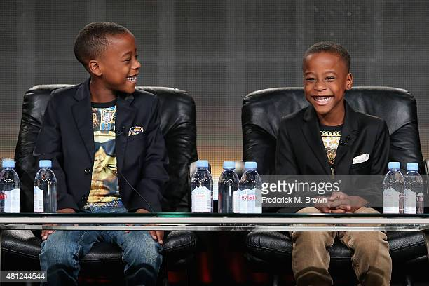 Actors Amir O'Neal and Amari O'Neill speak onstage during the 'White Water' panel at the TV One Network portion of the 2015 Winter Television Critics...