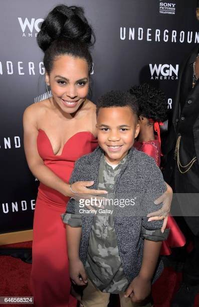 Actors Amirah Vahn and Maceo Smedley attend WGN America's Underground Season Two Premiere Screening at Regency Village Theatre on March 1 2017 in...