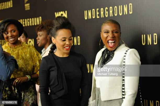 """Actors Amirah Vann and Aisha Hinds attend a For Your Consideration event for WGN America's """"Underground"""" at The Landmark on May 2, 2017 in Los..."""
