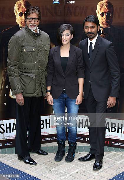 Actors Amitabh Bachchan Akshara Haasan and Dhanush attend a photocall for 'Shamitabh' at St James Court Hotel on January 27 2015 in London England