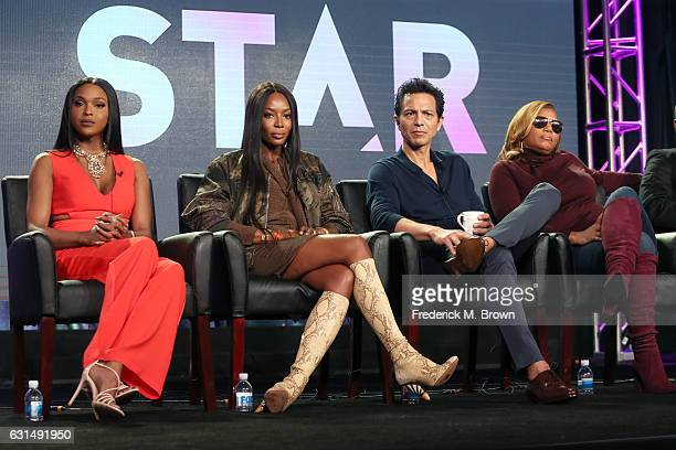Actors Amiyah Scott Naomi Campbell Benjamin Bratt and Queen Latifah of the television show 'Star' speak onstage during the FOX portion of the 2017...