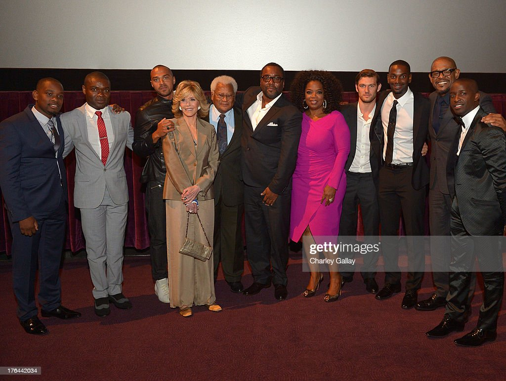 Actors Aml Ameen, David Oyelowo, Jesse Williams, Jane Fonda, James Lawson, director Lee Daniels, actors Oprah Winfrey, Alex Pettyfer, Mo McRae, Forest Whitaker and Elijah Kelley onstage at LEE DANIELS' THE BUTLER Los Angeles premiere, hosted by TWC, Budweiser and FIJI Water, Purity Vodka and Stack Wines, held at the Ritz-Carlton on August 12, 2013 in Los Angeles, California.