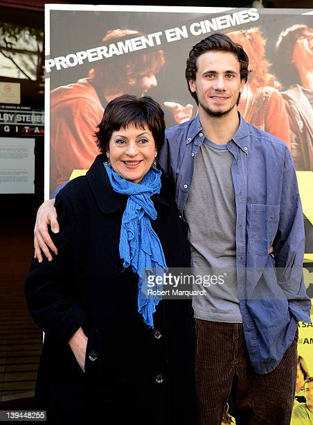 Actors Amparo Moreno and Oriol Pla attend a photocall for their latest film 'Any de Gracia' at the Cine Verdi on February 21 2012 in Barcelona Spain