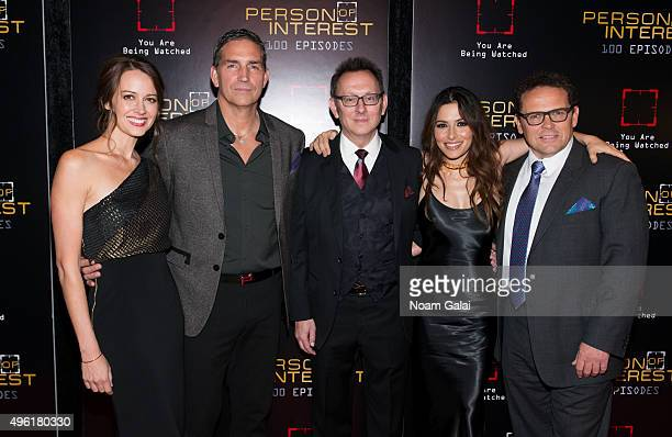 Actors Amy Acker Jim Caviezel Michael Emerson Sarah Shahi and Kevin Chapman attend 'Person Of Interest' 100th episode celebration event at 230 Fifth...