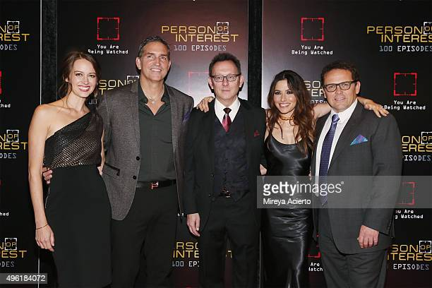 Actors Amy Acker Jim Caviezel Michael Emerson Sarah Shahi and Kevin Chapman attend 'Person Of Interest' 100th Episode Celebration at 230 Fifth Avenue...