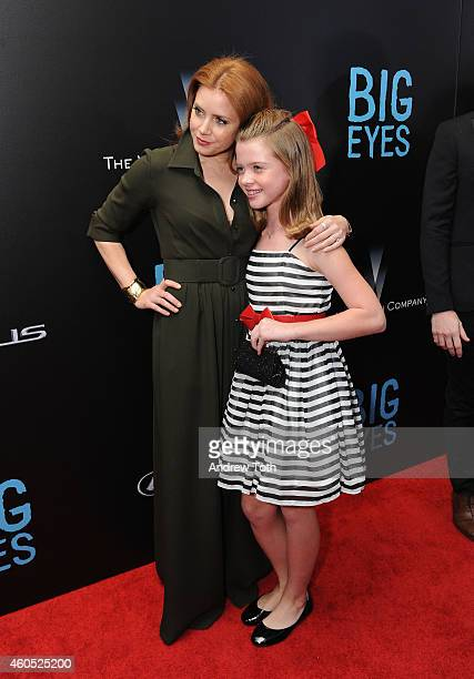 "Actors Amy Adams and Delaney Raye attend ""Big Eyes"" New York premiere at Museum of Modern Art on December 15, 2014 in New York City."