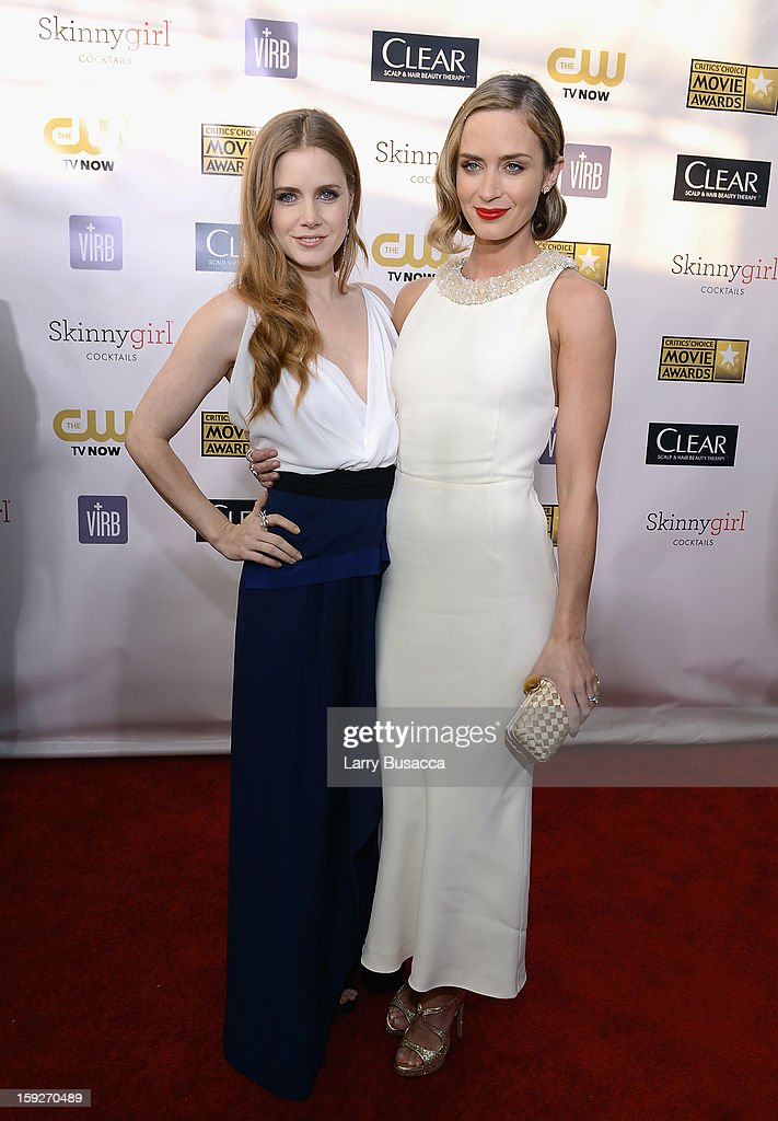 Actors Amy Adams and Emily Blunt attend the 18th Annual Critics' Choice Movie Awards held at Barker Hangar on January 10, 2013 in Santa Monica, California.
