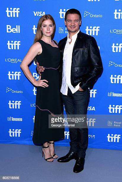 Actors Amy Adams and Jeremy Renner attend 'Arrival' press conference during 2016 Toronto International Film Festival at TIFF Bell Lightbox on...