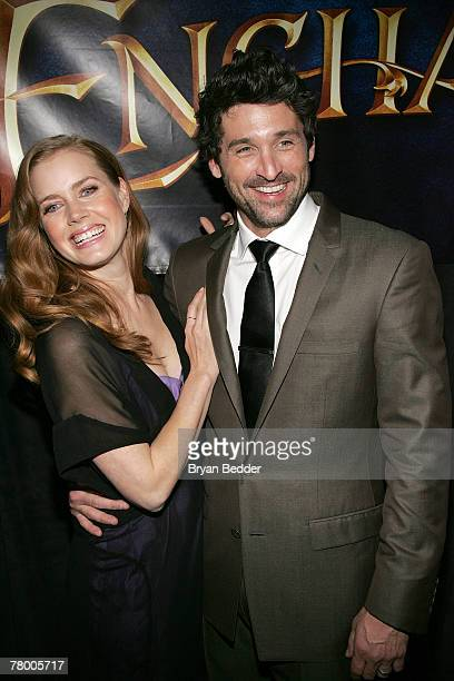 Actors Amy Adams and Patrick Dempsey arrive at the Walt Disney Pictures' screening of Enchanted at the Ziegfeld Theater November 19 2007 in New York...