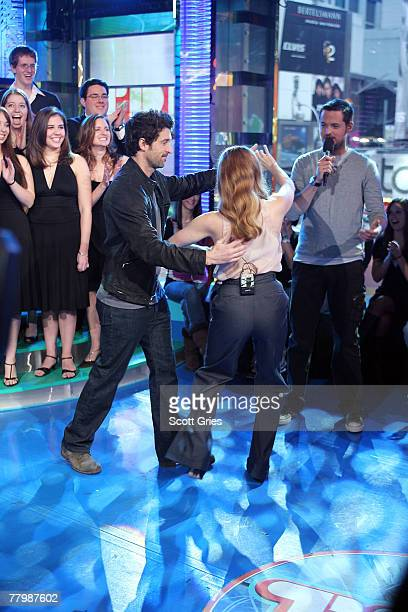 Actors Amy Adams and Patrick Dempsey dance the waltz during MTV's Total Request Live at the MTV Times Square Studios November 19, 2007 in New York...