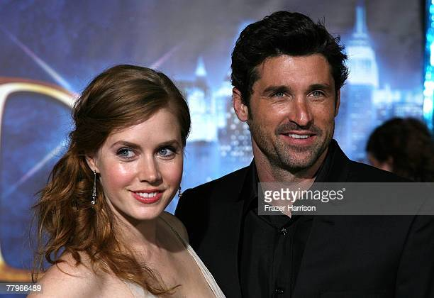 Actors Amy Adams and Patrick Dempsey pose together at the World Premiere of Disney's Enchanted held at the El Capitan theatre on November 172007 in...