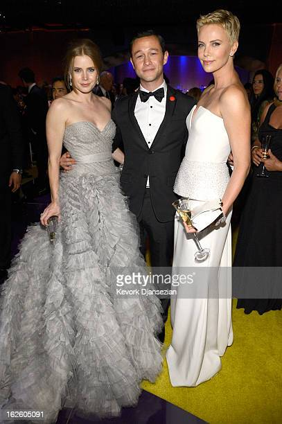 Actors Amy Adams Joseph GordonLevitt and Charlize Theron attend the Oscars Governors Ball at Hollywood Highland Center on February 24 2013 in...