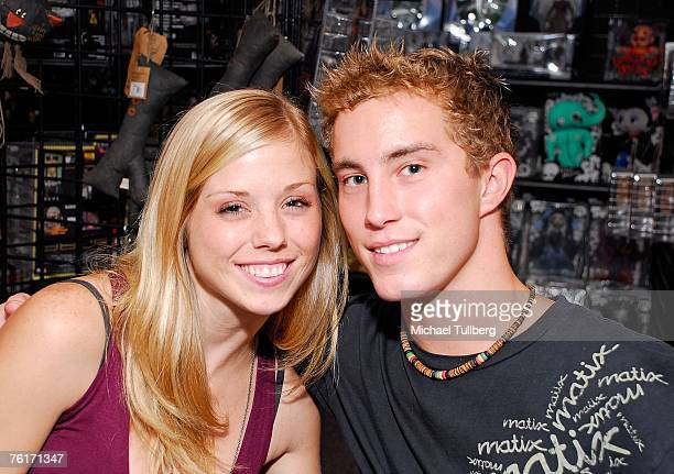 Actors Amy Baniecki and Ryan Fleming pose at an autograph party for the new graphic novel '2001 Maniacs' held at the Dark Delicacies bookstore on...