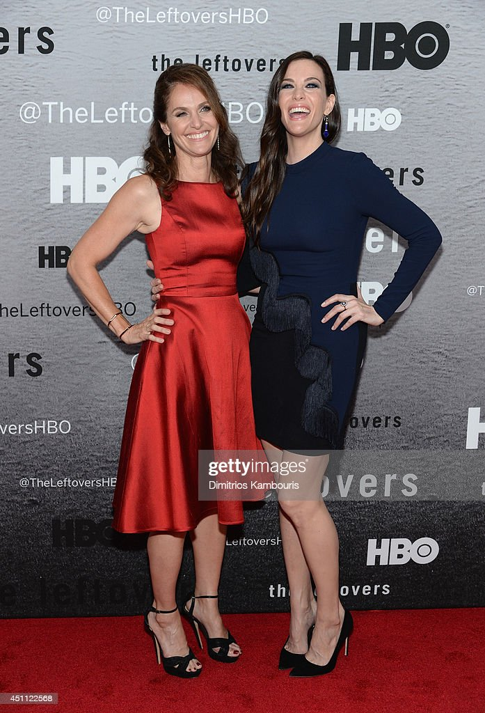 Actors Amy Brenneman and Liv Tyler attend 'The Leftovers' premiere at NYU Skirball Center on June 23, 2014 in New York City.