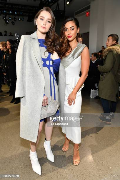 Actors Amy Forsyth and Lindsey Morgan attends the Bibhu Mohapatra front row during New York Fashion Week The Shows at Gallery II at Spring Studios on...