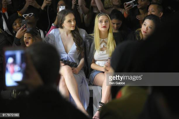 Actors Amy Forsyth and Lizzy Greene attend the Vivienne Hu front row during New York Fashion Week The Shows at Gallery II at Spring Studios on...