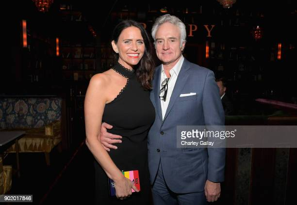 Actors Amy Landecker and Bradley Whitford attend ICM Partners Evening Before the Golden Globes on January 6 2018 in Los Angeles California