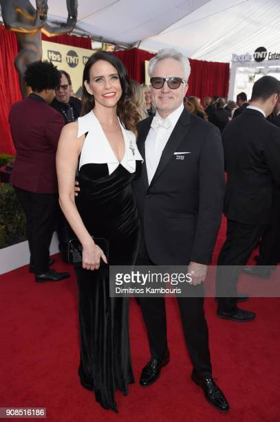 Actors Amy Landecker and Bradley Whitford attend the 24th Annual Screen Actors Guild Awards at The Shrine Auditorium on January 21 2018 in Los...