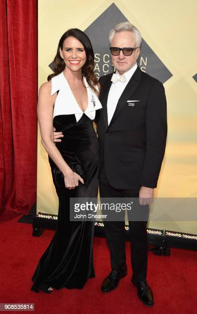 Actors Amy Landecker and Bradley Whitford attend the 24th Annual Screen Actors Guild Awards at The Shrine Auditorium on January 21, 2018 in Los...
