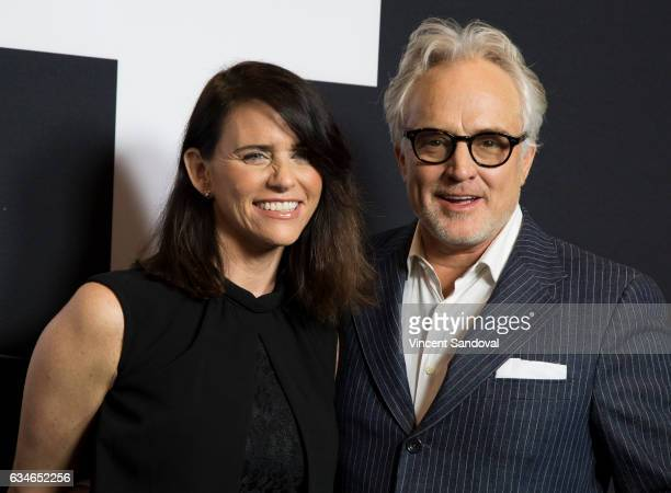 Actors Amy Landecker and Bradley Whitford attend the screening of Universal Pictures' 'Get Out' at Regal LA Live Stadium 14 on February 10 2017 in...