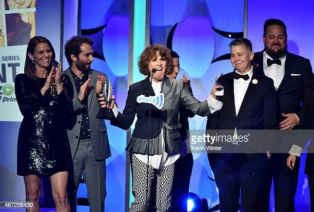 Actors Amy Landecker, Jay Duplass and writer-producer Jill Soloway accept the Outstanding Comedy Series award for 'Transparent' onstage during the...